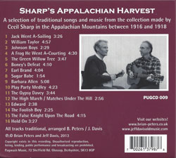 Sharp's Appalachian Harvest CD - back